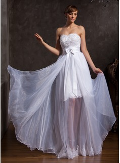 A-Line/Princess Sweetheart Floor-Length Organza Satin Prom Dress With Lace Beading (018015107)
