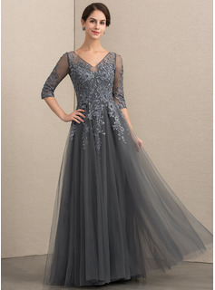 A-Line V-neck Floor-Length Tulle Lace Evening Dress With Beading Sequins (017192565)