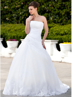 Ball-Gown Strapless Chapel Train Organza Satin Wedding Dress With Lace Beading (002000135)