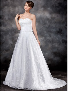 A-Line/Princess Sweetheart Court Train Organza Satin Lace Wedding Dress With Flower(s) Sequins Bow(s) (002017119)