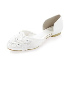 Women's Silk Like Satin Flat Heel Closed Toe Flats With Rhinestone Flower (047041226)