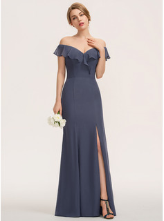 Sheath/Column Off-the-Shoulder Floor-Length Chiffon Evening Dress With Split Front Cascading Ruffles (017208808)