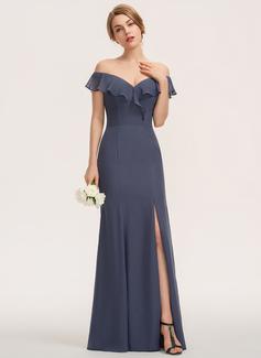 Sivu Off--Shoulder Lattiaa hipova pituus Sifonki Morsiusneitojen mekko jossa Halkio edessä Laskeutuva röyhelö (007190680)