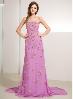 Sheath Strapless Watteau Train Chiffon Prom Dress With Ruffle Beading Sequins (018014230)