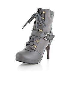 Leatherette Stiletto Heel Pumps Platform Closed Toe Boots Ankle Boots With Buckle Lace-up shoes (088013683)