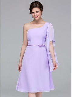 A-Line/Princess One-Shoulder Knee-Length Chiffon Charmeuse Bridesmaid Dress (007037217)