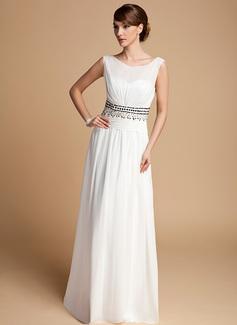 A-Linie/Princess-Linie U-Ausschnitt Bodenlang Chiffon Kleid für die Brautmutter mit Rüschen Perlen verziert (008014713)