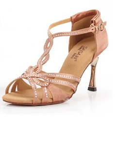 Women's Satin Heels Sandals Latin Wedding Party With Rhinestone T-Strap Dance Shoes (053025579)