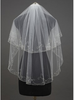 Two-tier Fingertip Bridal Veils With Pencil Edge (006034430)