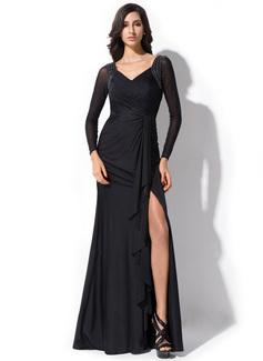 Trompete/Meerjungfrau-Linie V-Ausschnitt Bodenlang Jersey Abendkleid mit Perlen verziert Schleife(n) Schlitz Vorn Gestufte Rüschen (017052701)