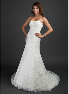 Trumpet/Mermaid Sweetheart Chapel Train Satin Tulle Wedding Dress With Ruffle Lace Beading (002000493)