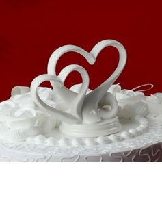 Double Hearts Ceramic Wedding Cake Topper (119030540)