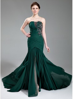 Evening Dresses Mermaid Sweetheart Court Train Chiffon Evening Dress With Ruffle Lace Beading Sequins (017019743)