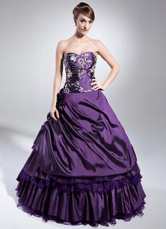 Duchesse-Linie Schatz Bodenlang Taft Quinceañera Kleid (Kleid für die Geburtstagsfeier) mit Bestickt Perlstickerei Pailletten Gestufte Rüschen (021014982)