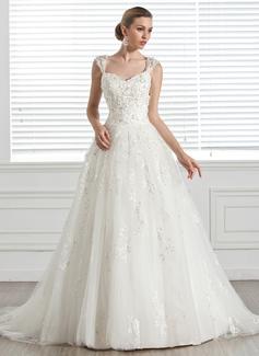 Duchesse-Linie Herzausschnitt Hof-schleppe Tüll Brautkleid mit Perlen verziert Applikationen Spitze Blumen (002005283)