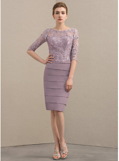 Sheath/Column Scoop Neck Knee-Length Chiffon Lace Cocktail Dress With Beading Sequins (016174148)