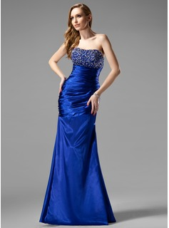 Sheath Sweetheart Floor-Length Charmeuse Evening Dress With Ruffle Beading Sequins (017004431)