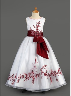 A-Line/Princess Floor-length Flower Girl Dress - Organza/Charmeuse Sleeveless Scoop Neck With Embroidered/Sash/Beading/Appliques (010005891)