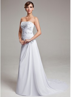 Wedding Dresses A-Line/Princess Strapless Court Train Chiffon Wedding Dress With Ruffle Lace (002004166)