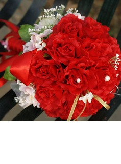 Bright/Red Round Satin Bridal Bouquets (124032069)