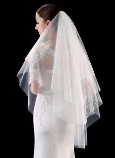 Cuatro capas Corte de borde/Con Aplicación de encaje Yema del dedo velos de novia con Encaje (006201029)