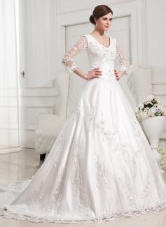 Robe Marquise Col V Traîne mi-longue Satiné Robe de mariée avec Brodé Motifs appliqués Dentelle (002012846)