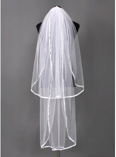 Two-tier Waltz Bridal Veils With Ribbon Edge (006003962)