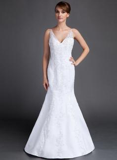 Trumpet/Mermaid V-neck Court Train Satin Wedding Dress With Lace Beading (002015813)