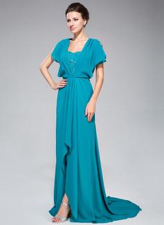A-Linie/Princess-Linie Schatz Sweep/Pinsel zug Chiffon Kleid für die Brautmutter mit Lace Perlstickerei Pailletten Schlitz Vorn Gestufte Rüschen (008047398)