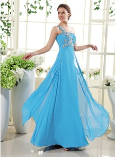 A-Line/Princess One-Shoulder Floor-Length Chiffon Holiday Dress With Ruffle Beading Appliques Lace (020015432)