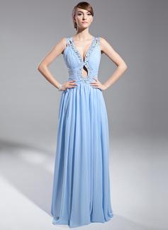 A-Linie/Princess-Linie V-Ausschnitt Bodenlang Chiffon Abendkleid mit Rüschen Perlen verziert Pailletten (017014691)