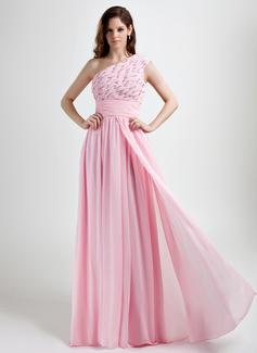A-Linie/Princess-Linie One-Shoulder-Träger Bodenlang Chiffon Festliche Kleid mit Rüschen Perlen verziert (020015785)