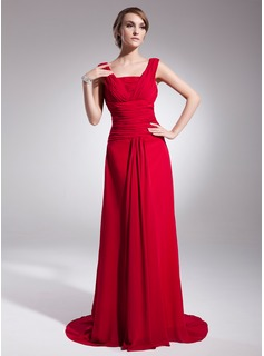A-Line/Princess Sweep Train Chiffon Evening Dress With Ruffle (017014519)