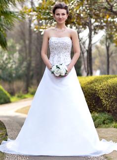 Vestidos princesa/ Formato A Sem Alças Cauda longa Cetim Organza de Vestido de noiva com Bordados Beading lantejoulas (002000390)