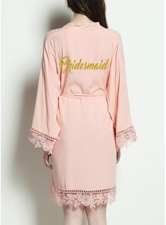Bridesmaid Cotton Satin & Lace Robes (248176092)