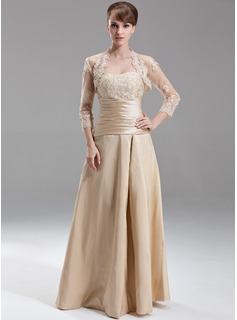 A-Line/Princess Sweetheart Floor-Length Taffeta Bridesmaid Dress With Ruffle Lace Beading (007002095)