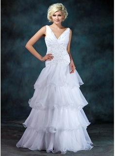 A-Line/Princess V-neck Floor-Length Organza Satin Wedding Dress With Beading Sequins Cascading Ruffles (002024405)