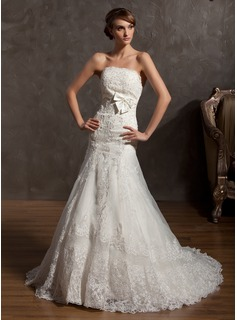 A-Line/Princess Strapless Court Train Organza Satin Wedding Dress With Lace Bow(s) (002014958)