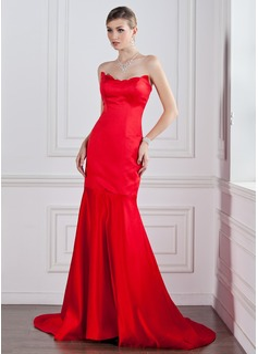 Trumpet/Mermaid Sweetheart Court Train Satin Evening Dress (017022528)