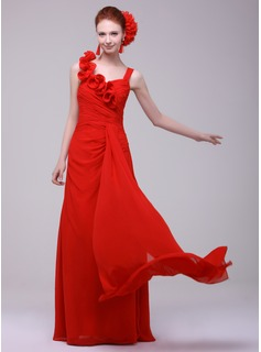 A-Line/Princess Sweetheart Floor-Length Chiffon Holiday Dress With Ruffle (020016171)
