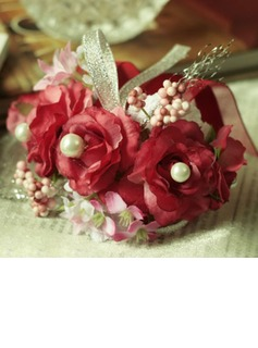 Red Free-Form Satin/Cotton Wrist Corsage/Pin-on Corsage (124032019)