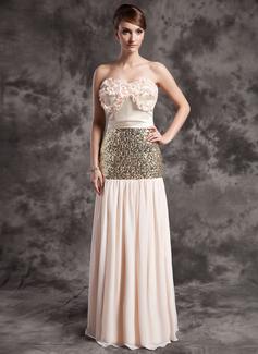 A-Linie/Princess-Linie Trägerlos Bodenlang Chiffon Pailletten Festliche Kleid mit Rüschen (020015030)