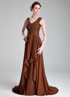 A-Linie/Princess-Linie Herzausschnitt Hof-schleppe Chiffon Kleid für die Brautmutter mit Rüschen Perlen verziert Gestufte Rüschen (008018964)