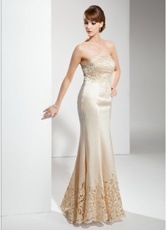 Trompete/Meerjungfrau-Linie Trägerlos Bodenlang Satin Kleid für die Brautmutter mit Lace (008017398)
