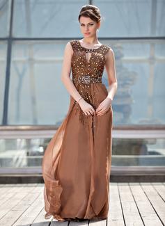 A-Linie/Princess-Linie U-Ausschnitt Sweep/Pinsel zug Chiffon Kleid für die Brautmutter mit Rüschen Perlstickerei Pailletten (008018942)