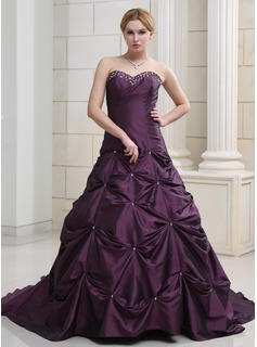 Ball-Gown Sweetheart Chapel Train Taffeta Wedding Dress With Ruffle Beading (002000503)