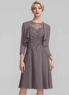 A-Linie/Princess-Linie U-Ausschnitt Knielang Chiffon Spitze Kleid für die Brautmutter (008107657)