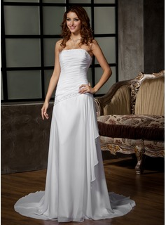 A-Line/Princess Strapless Court Train Chiffon Wedding Dress With Ruffle Beading Sequins (002012068)