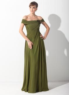 A-Linie/Princess-Linie Schulterfrei Sweep/Pinsel zug Chiffon Kleid für die Brautmutter mit Rüschen Blumen (008015153)