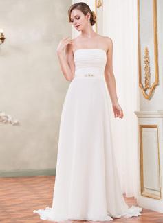 Forme Princesse Sans bretelle alayage/Pinceau train Mousseline Satiné Robe de mariée avec Plissé Emperler (002051624)